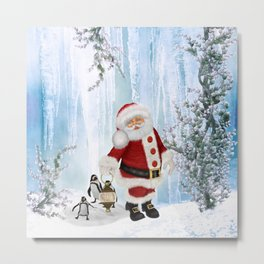Santa Claus with funny penguin Metal Print