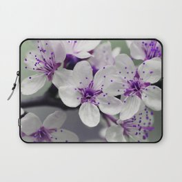 Modern blossom white violet green ombre floral Laptop Sleeve