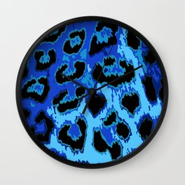 Blue Leopard Spots Wall Clock