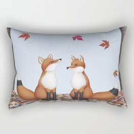 foxes, falling leaves, & pileated woodpecker Rectangular Pillow