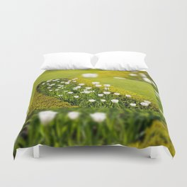 White tulips in buxus arrangement Duvet Cover