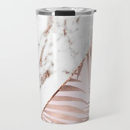 Rose gold marble & tropical ferns Travel Mug