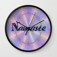 namaste Wall Clocks featuring Namaste by Stay Inspired