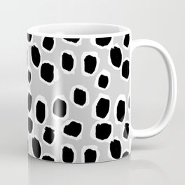 Tess - black and white grey minimal modern abstract dots painting brushstrokes free spirit ink  Coffee Mug