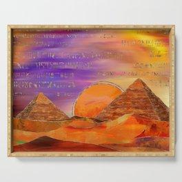 Egyptian pyramids abstract landscape Mixed Media Serving Tray
