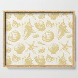 Seashells Pattern 6 - Gold Serving Tray
