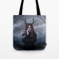 satan Tote Bags featuring satan by tadzioautumn