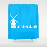 amsterdam Shower Curtains featuring Amsterdam by Flat Design