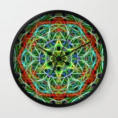 Feathered texture mandala in green and brown Wall Clock