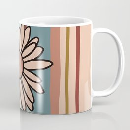 90s Stripe with Daisy in Vintage Fall Colors Coffee Mug