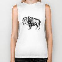 bison Biker Tanks featuring Bison by Jade Antoine