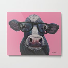 Cow with Glasses Art, colorful cow art Metal Print