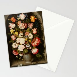 """Osias Beert """"Vase of flowers in a stone niche"""" Stationery Cards"""