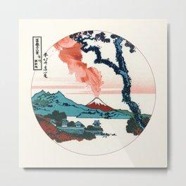 Hokusai View Of Mount Fuji With Eruption Minimalist Metal Print