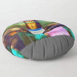Mona Lisa _corrupt Floor Pillow