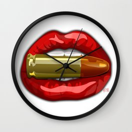 Biting The Bullett Red Lips on White Wall Clock