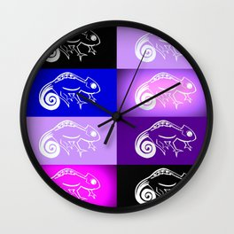 Purple chameleon collage, purple and pink designs, purple and pink cushon Wall Clock