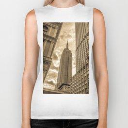 Golden Empire State Building Biker Tank