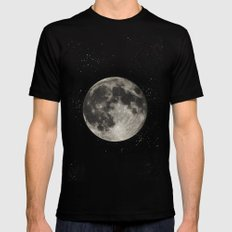The Moon  [Sans Type] Black Mens Fitted Tee LARGE