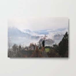 Lake Bled in the Mist Metal Print