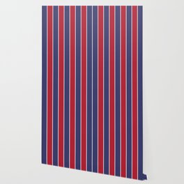 Large Red White and Blue USA Memorial Day Holiday Vertical Cabana Stripes Wallpaper