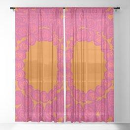 Pink Rose Wreath Sheer Curtain