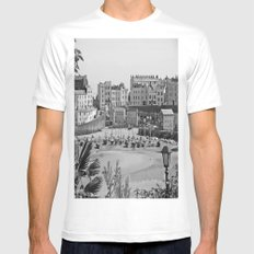 Tenby Harbour. Black+White. Reflection. MEDIUM White Mens Fitted Tee