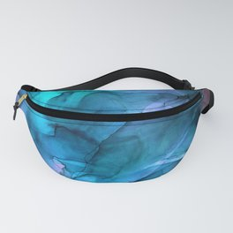 Abstract Ink Blue Turquoise Pink Marble Fanny Pack
