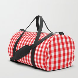 Large Christmas Red and White Gingham Check Plaid Duffle Bag