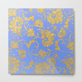 Queenlike- gold floral ornaments on blue backround-luxury pattern Metal Print