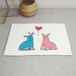 LOVE Blue and Pink Dog Rug