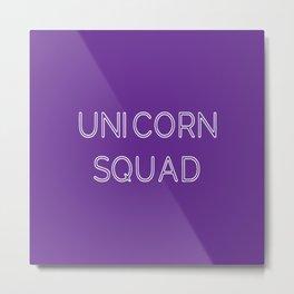 Unicorn Squad - Purple and White Metal Print