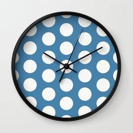 Large Polka Dots on Blue Wall Clock