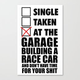 At the garage building a race car Canvas Print