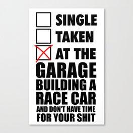 At the garage building a race car Canvas Print
