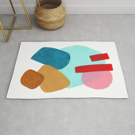 Minimalist Abstract Fun MidCentury Colorful Shapes Teal Blue Pastel Red pink Geometric Organic Shape Rug