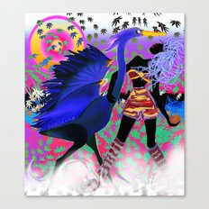 blue heron with mistress Canvas Print