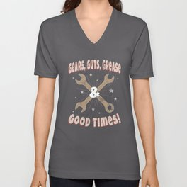 Gears Guts Grease & Good Times Fast Hot Rods Unisex V-Neck