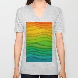 Colourful wave line pattern canvas Unisex V-Neck