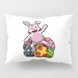 Happy Easter Bunny Lays On Colored Eggs Pillow Sham