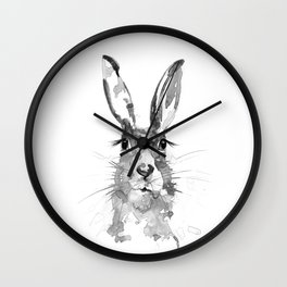 BLACK N WHITE HARE Wall Clock