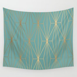 ELEGANT BLUE GOLD PATTERN Wall Tapestry