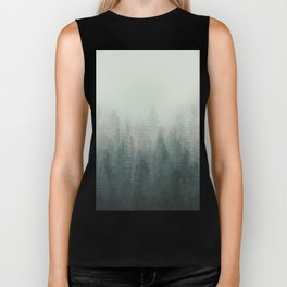 Into The Misty Nature - Turquoise Green Biker Tank
