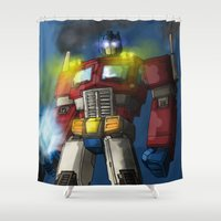 optimus prime Shower Curtains featuring Optimus Prime, Hero of Cybertron by Brandon Draws