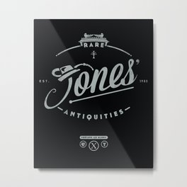 """Jones' Rare Antiquities"" - silver version Metal Print"