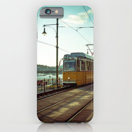 Retro Tram 2 in Budapest. Yellow tram photography. iPhone Case