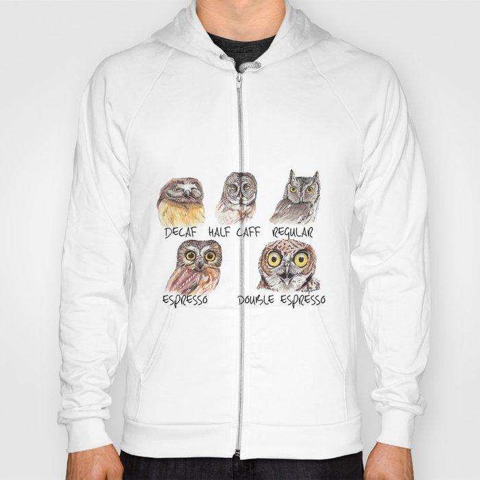 Owl Caffeine Meter -  funny owl coffee Hoody