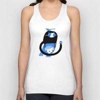 BLUE BIRD AND CAT ON HEAD Unisex Tank Top