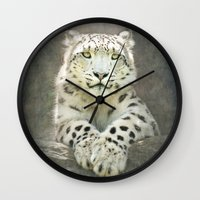 snow leopard Wall Clocks featuring Snow Leopard by Pauline Fowler ( Polly470 )