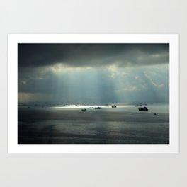 Ships at sea in Istanbul Art Print